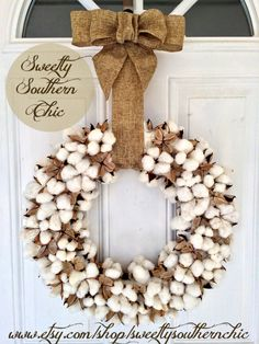 @jbarnwell – thought of you when I saw this, given the bale of family cotton in your living room.  18 inch Cotton Wreath by SweetlySouthernChic on Etsy