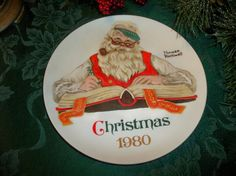 Christmas Plate Norman Rockwell Santa Claus Checking His List Vintage 1980…