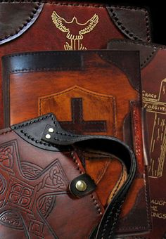 Custom Handmade Leather Binders, Bible Covers and Leather Bible Cover, Leather Book Covers, Leather Binder, Leather Notebook, Leather Carving, Leather Tooling, Leather Projects, Leather Crafts, Oldest Bible