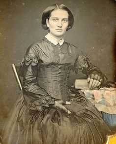 1850s - look at the awkward line where the boned bodice and corset end.   by Mirror Image Gallery, via Flickr