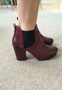 Burgundy Ankle Boots - Leather