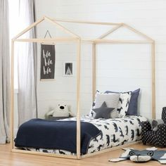 Amazing offer on South Shore Sweedi Natural Poplar Twin House Bed online - Findandbuytopstyle House Frame Bed, House Beds, Bed Frame, Toddler House Bed, Kids Toddler Bed, Toddler Floor Bed, Toddler Stuff, Baby Boys, Lit Simple