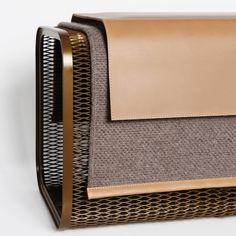 Steel mesh bench with vegetable tanned leather cover over a grey wool liner. Leather Bench, Tan Leather, Lamp Design, Sofa Design, Metal Furniture, Furniture Design, Hotel Room Design, Small Bench, Contract Furniture