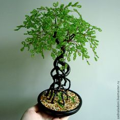 Купить Дерево из бисера Бенгальское лето - зеленый, бонсай из бисера, воздушные корни