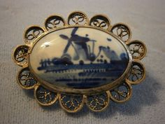 Vintage Delft Sterling Silver? Oval Windmill Brooch Pin Signed #Delfts