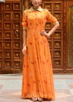 Orange Georgette Tunic #Shop #Now #Tunics #Anarkalis #By #Vasansi #Jaipur