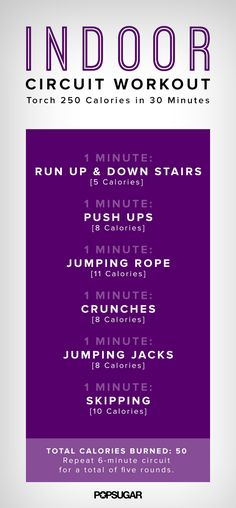 Indoor Circuit Workout Poster | POPSUGAR Fitness
