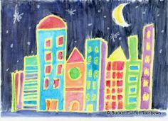 Oil Crayon City 1b