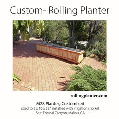 "ROLLING PLANTERS Commercial quality ""rolling planter"" 25"" tall Grow almost anything, great for plants that require deep roots. Grow everything including trees! Self watering and Aquaponic options available. Fully assembled (NOT A KIT). Planters made from sustainably grown wood (cedar and fir), case hardened epoxy / glass coated hardware ( NO NAILS or STAPLES ), trip-ply pond liner, locking wheels and drains. Designed, handmade Ventura, CA, USA www.RollingPlanter.com"