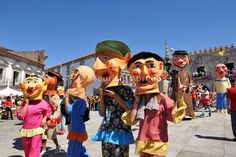 Traditional big-headed masks of Minho ( gigantones and cabeçudos) at the historical centre of Viana do Castelo. Our Lady of Agony Festivities, the biggest traditional festival in Portugal. Portugal's Great Festivities by Mauricio Abreu, Images of Portugal, Portugal