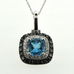 14k White Gold Blue Topaz Pendant with Black & White Diamonds