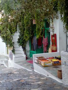 Village Greek Flowers, Forest Mountain, Tree Forest, Flowering Trees, Mykonos, Night Skies, Greece, Sidewalk, Stairs