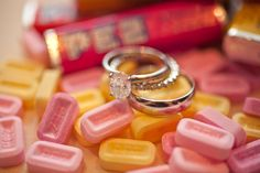 wedding ring photo in pez candy ; photo by Jessica Monnich Photography