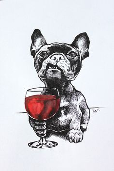 Red wine & French bulldog