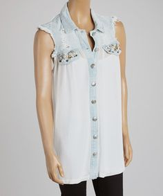 This Denim & White Lace Sleeveless Button-Up Tunic by Banana U.S.A. is perfect! #zulilyfinds