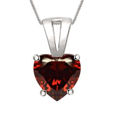 """1.53 Ct Heart Shape Halo Red Garnet Pendant Sterling Silver 18"""" Chain Necklace #Silverdew #SolitairePendant"""