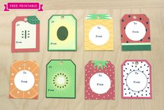 FREE printable fruity summer tags