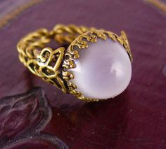 Vintage huge Moonstone West Germany Ring fancy by vintagesparkles, $110.00