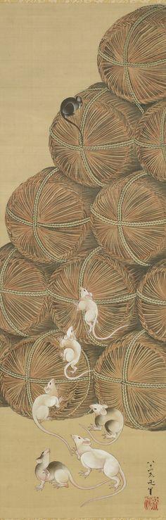 Rats and Rice Bales 1843 Katsushika Hokusai , (Japanese, 1760-1849) Edo period Ink and color on silk H: 192.1 W: 51.7 cm Japan
