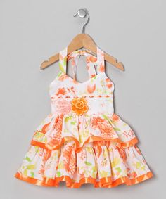 Take a look at this Orange Floral Halter Dress - Toddler & Girls by Lele for Kids on #zulily today!