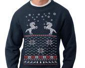 Mens ugly Christmas sweater -- Christmas Unicorn -- pullover sweatshirt -- s m l xl xxl xxxl. $29.00, via Etsy.