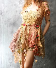 RESERVED for Kristen Vintage Lace Doily Dress Bohemian Gypsy Flower Fairy Spring Festival Layering Dress Wedding Prom Majik Horse Hand Made