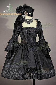 Robe de bal noire victorienne Rococo, à étages, princesse