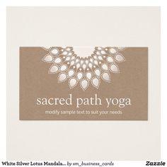 White Silver Lotus Mandala Yoga and Mediation Business Card
