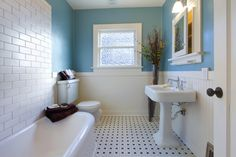 minimalist blue white bathroom design on decorative polka flooring plan and small wash stand