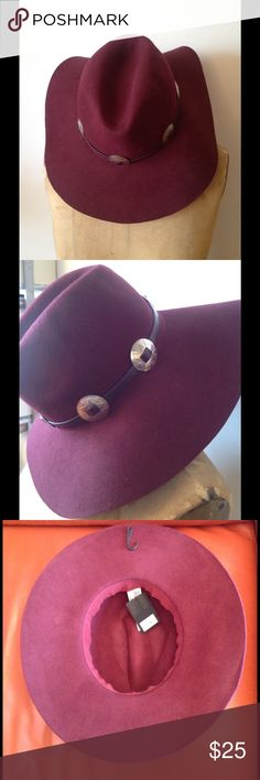 WINE COLOR FASHION HAT Beautiful cowboy fashion hat. With vegan leather strap and western silver metal trims. Accessories Hats