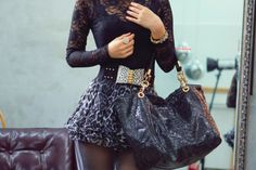 High waisted pouf skirt & long-sleeved lace top
