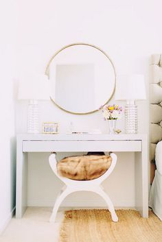 Love the idea of replacing the outdated wall mirror in the bedroom nook areas and replacing with new paint and rounded mirrors like this one- or white framed mirrors (in other pins)