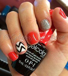 GlitterNailArtist| Fun Summer Nails!  Chevron nails, accent nail, orange nails, loose glitter, silver glitter, gel mani >>OPI: My Chihuahua Bites, Alpine Snow, Black Onyx -- GelColor