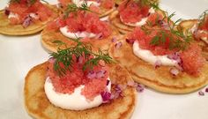 Blini with Lumpfish Roe, Creme Fraiche and red onion. A Danish Spring Speciality.
