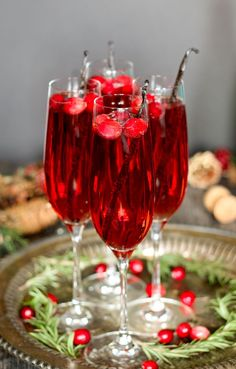 Vanilla Cranberry Mimosas