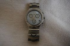 For Sale Now at Our Ebay Store for only $99.99!  SWISS-Made Swatch IRONY Quartz 4-Jewels Date Chrono SS Bracelet Watch