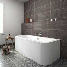 1700x750x460mm Back to Wall Bath - soak.com
