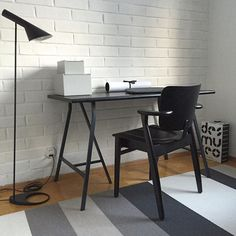 Let's work. Scandinavian style home office. Woodnotes Avenue paper yarn carpet with Artek, Louis Poulsen, Lundia and Ikea.