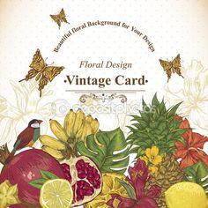 Старинные открытки тропические фрукты, цветы, бабочки и птицы — стоковая иллюстрация #73058607