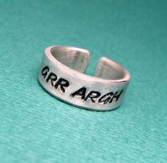 Grr Argh  A Hand Stamped Aluminum Ring by chasingatstarlight, $11.95