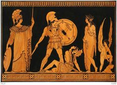 ANCIENT ART. Ancient Greek painting, Achilles and Penthesella on the Plain of Troy, with Athena, Aphrodite and Eros. Art Experience NYC www.artexperiencenyc.com/social_login/?utm_source=pinterest_medium=pins_content=pinterest_pins_campaign=pinterest_initial