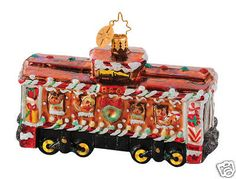 Box Car Sweets Christmas Ornament Christopher Radko 1014647 B & O Railroad Collection - Retired Box Car Sweets is a gingerbread colored train car loaded with whimsical Christmas Train, Christmas Gingerbread, Christmas Candy, Train Ornament, Radko Christmas Ornaments, Ornaments Image, Snowman Tree, Christopher Radko, Hand Painted Ornaments