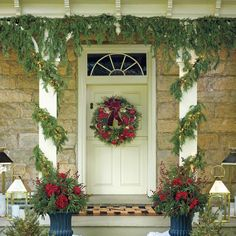 Soft Cedar Hanging Garland With Icicle Lights - Frontgate Christmas Lights Outside, Hanging Christmas Lights, Hanging Garland, Christmas Porch, Holiday Lights, Outdoor Christmas, Christmas Wreaths, Biltmore Christmas, Christmas Ideas