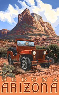 Northwest Art Mall Sedona Arizona Jeep Artwork by Paul A Lanquist, 11-Inch by 17-Inch, $19.99 https://twitter.com/ArizonaDeals_/status/623593607073800192