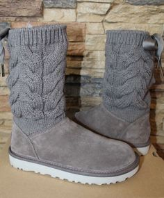 99945c765758d 99.95 | NIB UGG KIANDRA Knit Suede Fur Boots Womens 7 8 9 10 WILLOW GRAY ❤ # kiandra #knit #suede #boots #womens #willow #gray #urbanclothes #style # Winter ...