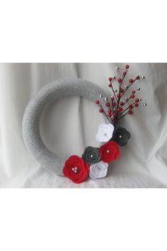 Felt flower wreath by Anita Reksiedler on Etsy