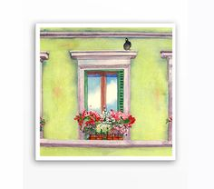 Painting of a Window Box - Watercolor Prints - Old Italian City Wall Home Decor Window Flowers Romantic Ash Grey Tender shoots - 12 x 12 on Etsy, $30.00