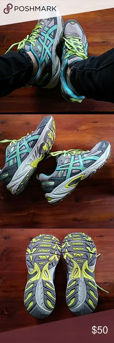 Asics Tennis shoes Gray with blue yellow accents. Almost new. Asics Shoes Athletic Shoes