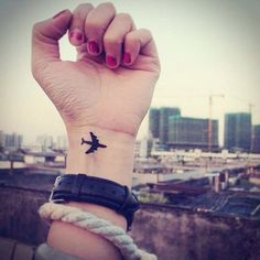 An airplane tattoo for the traveler #TattooModels #tattoo