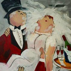 Bruidspaar. Zelf komen schilderen? Schilderen met een wijntje. Hét creatieve avondje uit. paintbar.nl.